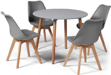 Toulouse Tulip Eiffel Designer Dining Set Grey Round Table & 4 Grey Chairs Sale Now On Your Price Furniture